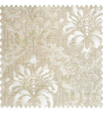 Beige cream golden color traditional damask pattern crushed background vertical embossed short lines texture finished swirls leaves decorative designs polyester and cotton based main curtain