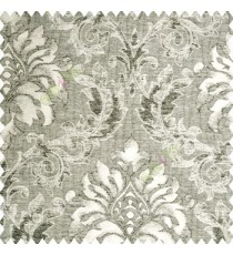 Black beige grey color traditional damask pattern crushed background vertical embossed short lines texture finished swirls leaves decorative designs polyester and cotton based main curtain