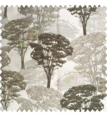 Grey color natural trees design dense forest with big bushes texture finished surface polyester main curtain