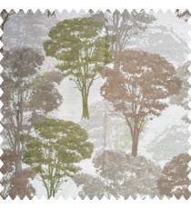 Green brown grey color natural trees design dense forest with big bushes texture finished surface polyester main curtain