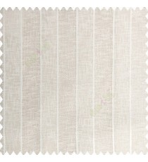 Cream and white color vertical bold stripes texture finished with transparent net fabric pencil parallel lines polyester sheer curtain