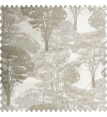 Grey cream color natural trees design dense forest with big bushes texture finished surface polyester main curtain