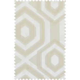 Beige brown colour geometric hexagonal design polycotton main curtain designs