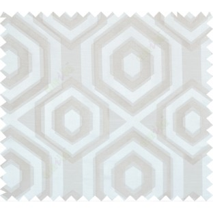 Silver beige white colour geometric hexagonal design polycotton main curtain designs