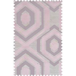 Beige purple pink colour geometric hexagonal design polycotton main curtain designs
