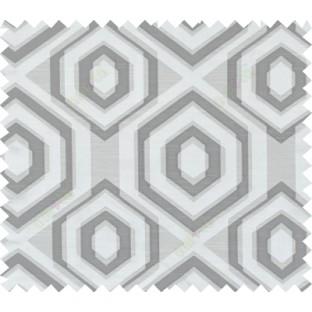 Black white beige colour geometric hexagonal design polycotton main curtain designs