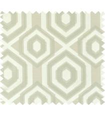 Green beige colour geometric hexagonal design polycotton main curtain designs