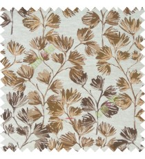 Dark brown cream green gold color beautiful flower tree with flower buds texture finished background polyester main curtain fabric