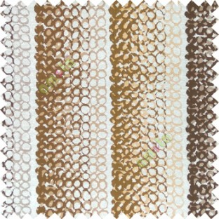 Dark brown cream  gold color vertical stripes circles texture finished surface polyester main curtain fabric