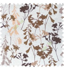 Brown cream gold color natural flower design with long stem texture background finished polyester main curtain fabric