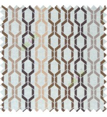 Brown cream gold color contemporary patterns digital vertical ogee design texture background finished polyester main curtain fabric