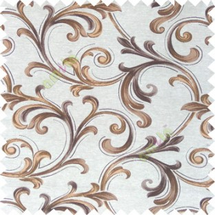 Brown cream gold color traditional swirls texture pattern texture background finished polyester main curtain fabric