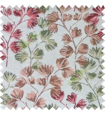 Maroon green cream color beautiful flower tree with flower buds texture finished background polyester main curtain fabric