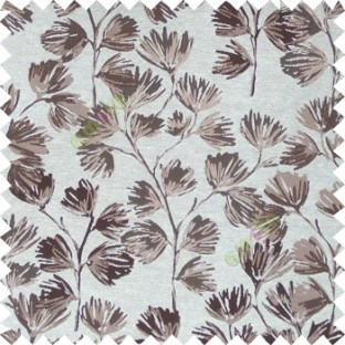 Grey brown cream color beautiful flower tree with flower buds texture finished background polyester main curtain fabric