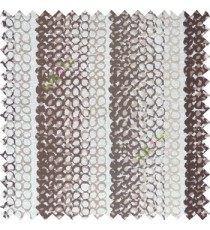 Brown cream color vertical stripes circles texture finished surface polyester main curtain fabric