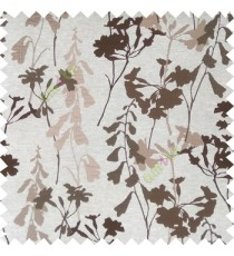Brown cream color natural flower design with long stem texture background finished polyester main curtain fabric