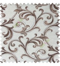 Brown cream color traditional swirls texture pattern texture background finished polyester main curtain fabric