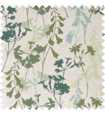Green blue cream color natural flower design with long stem texture background finished polyester main curtain fabric