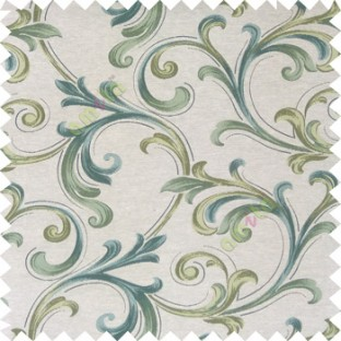Green blue cream color traditional swirls texture pattern texture background finished polyester main curtain fabric