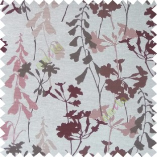 Light brown cream brown color natural flower design with long stem texture background finished polyester main curtain fabric