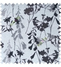 Grey color natural flower design with long stem texture background finished polyester main curtain fabric