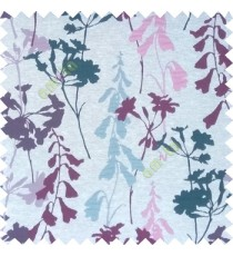 Purple blue cream pink color natural flower design with long stem texture background finished polyester main curtain fabric
