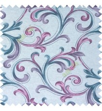 Purple blue cream color traditional swirls texture pattern texture background finished polyester main curtain fabric