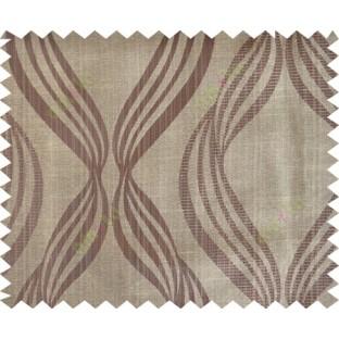 Brown yellow colour vertical wavy stripes polycotton main curtain designs