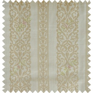 Yellow beige gold colour vertical traditional stripes polycotton main curtain designs