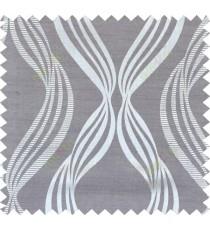 Grey beige brown colour vertical wavy stripes polycotton main curtain designs