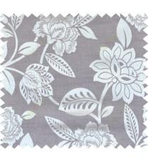 Grey beige brown colour natural floral design polycotton main curtain designs