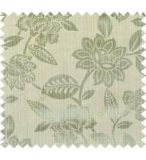 Green yellow beige colour natural floral design polycotton main curtain designs