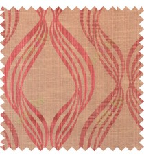 Maroon brown yellow black colour vertical wavy stripes polycotton main curtain designs