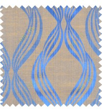 Blue yellow brown colour vertical wavy stripes polycotton main curtain designs