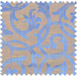 Blue yellow brown colour elegant traditional design polycotton main curtain designs