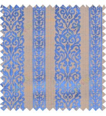 Blue yellow brown colour vertical traditional stripes polycotton main curtain designs