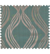 Brown and green colour vertical wavy stripes polycotton main curtain designs