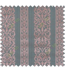 Brown and green colour vertical traditional stripes polycotton main curtain designs