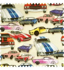 Kids design water print on pure cotton base fabric multicolors of red blue yellow pink purple white brown color vintage cars design on pale yellow color background main curtain