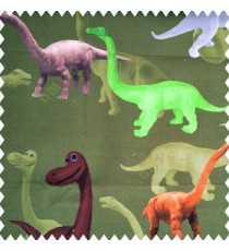Beautiful kids animal designs in bright green yellow brown grey copper color dinosaurs with pure cotton dark green base color fabric main curtain