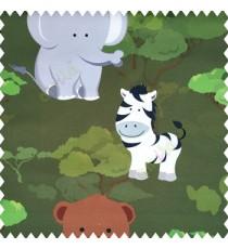 Green white black grey brown color kids design elephants zebra bear trees pure cotton base fabric main curtain