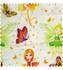 Green brown yellow orange purple black green color beautiful kids pattern cute girl baby fairy with big wings hairs crown butterfly  polka dots big flower petals frills shoe designs pure cotton base fabric white color main curtain