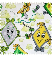 Green yellow black grey yellow color kids design watercolor print kites flowers clouds ropes smiley face big eyes tails paper works with white base cotton fabric main curtain