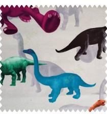 Beautiful kids animal designs in green orange black grey purple color dinosaurs with pure cotton smoke grey base color fabric main curtain