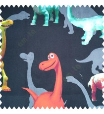 Beautiful kids animal designs in green orange grey blue pink color dinosaurs with pure cotton pure black base color fabric main curtain