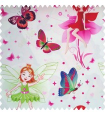 Green red pink orange pink purple color beautiful kids pattern cute girl baby fairy with big wings hairs crown butterfly  polka dots big flower petals frills shoe designs pure cotton base fabric white color main curtain