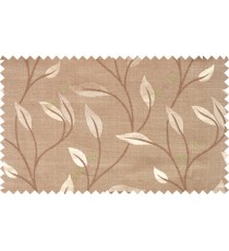Brown grey color elegant floral pattern with texture fab polycotton main curtain designs