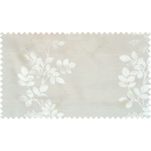 Beige white color natural floral with thick texture fab polycotton main curtain designs