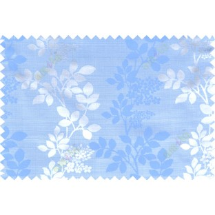 Blue grey color natural floral with thick texture fab polycotton main curtain designs