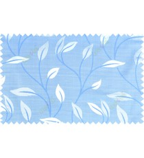 Blue grey color elegant floral pattern with texture fab polycotton main curtain designs